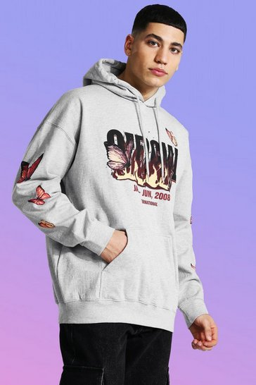 Grey Loose Official Skull Flame Print Hoodie