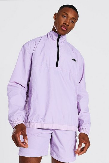 Lilac purple Oversized Washed Nylon Funnel Neck Cagoule