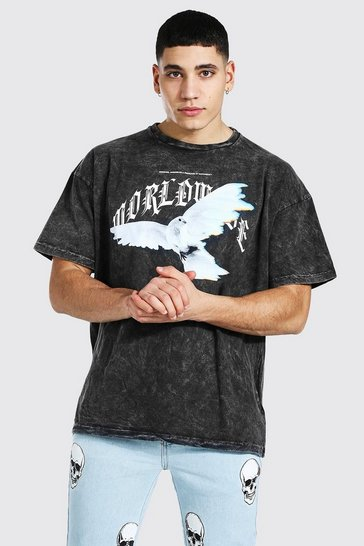Vintage wash blue Oversized Dove Flame Print T-shirt