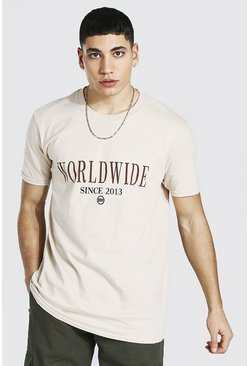 Sand beige Oversized Worldwide Print T-shirt