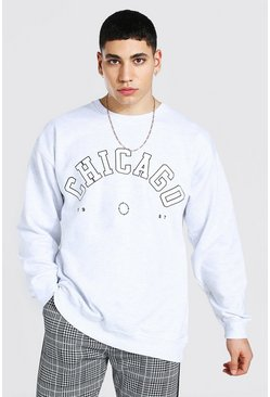 Grey marl grey Oversized Chicago Print Sweatshirt