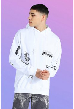 White Oversized Multi Graffiti Print Hoodie