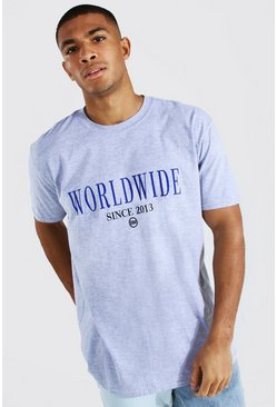 Ash grey Oversized Worldwide Print T-shirt