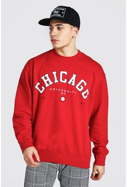 Red Oversized Chicago Print Sweatshirt