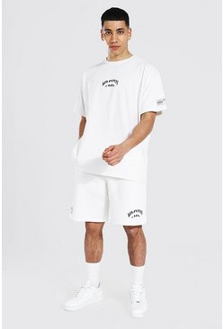 Ecru white Oversized Numeral Print T-shirt & Short Set