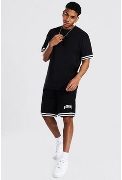 Black Oversized Homme Taped T-shirt & Short Set