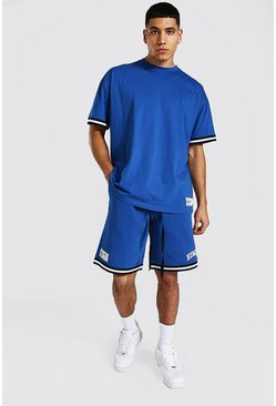 Cobalt blue Homme Oversized Gestreept T-Shirt En Shorts Set