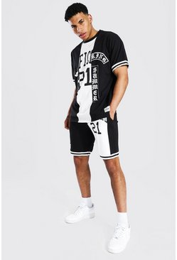 Black Oversized Official Spliced Tee & Short Set