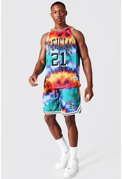 Multi Official Tie Dye Mesh Vest And Basketball Set