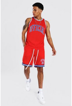 Red Official Mesh Vest And Basketball Set