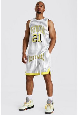White Official Striped Mesh Vest And Basketball Set