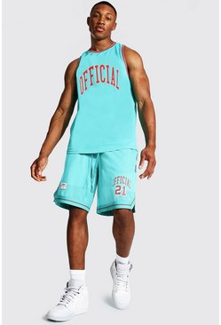 Teal green Official Mesh Vest And Basketball Set