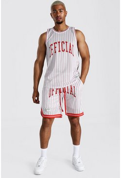 Grey Official Striped Mesh Vest And Basketball Set