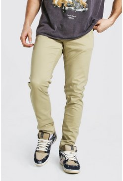 Stone beige Chinobyxor i regular fit