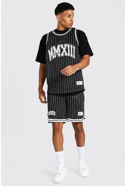 Black Oversize Stripe 3 Piece Airtex Basketball Set
