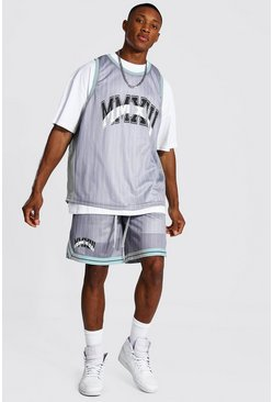 Grey Oversized Stripe 3 Piece Mesh Basketball Set