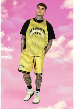 Yellow Oversized Stripe 3 Piece Mesh Basketball Set