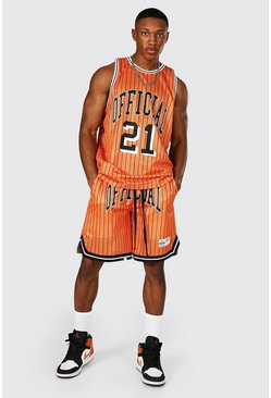 Orange Official Striped Mesh Vest And Basketball Set