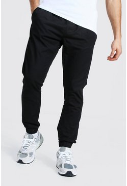 Black Regular Fit Cuffed Chino