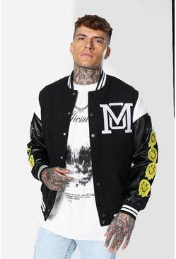 Om Drip Face Varsity Jacket, Black Чёрный