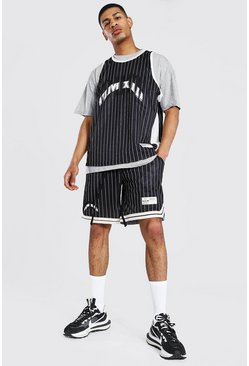 Black Oversize Stripe 3 Piece Mesh Basketball Set