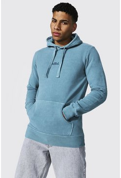 Duck egg blue Offcl Contrast Washed Hoodie