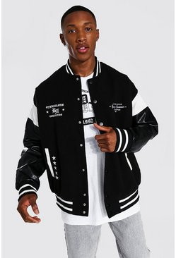 Ofcl Arch Back Varsity Jacket, Black Чёрный