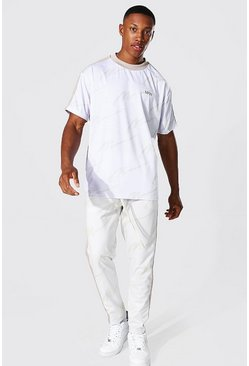 Oversize All Over Man Tee & Tricot Jogger Set, Ecru Белый