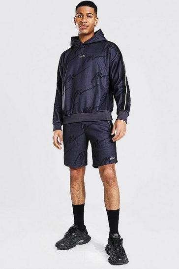 Charcoal grey Oversized All Over Man Tape Short Tracksuit