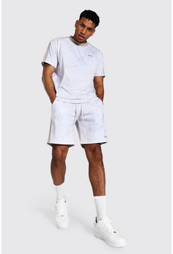 Ecru white Oversized All Over Man Taped Tee & Short Set