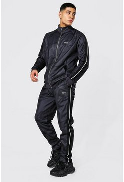 Charcoal grey Repeat Man Funnel Neck Tape Tricot Tracksuit
