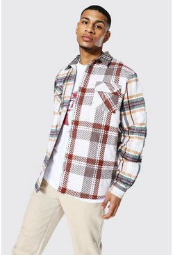 Taupe beige Quilted Spliced Check Overshirt