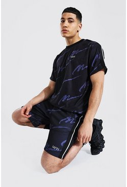 Black Oversized All Over Man Taped Tee & Short Set