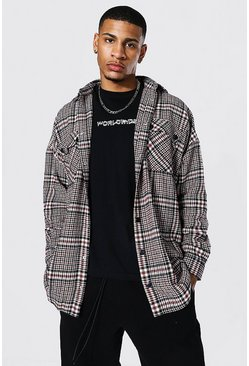 Brown Oversized Check Overshirt With Poppers
