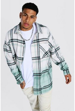 Green Oversized Ombre Check Overshirt