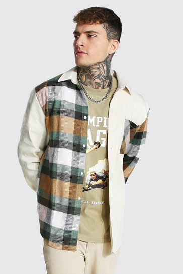 Green Contrast Spliced Check Overshirt