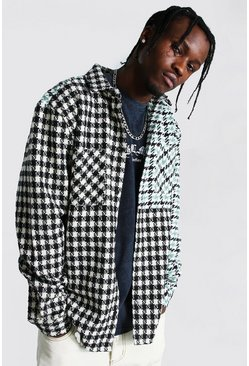 Green Spliced Dogtooth Check Overshirt