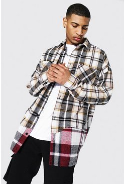 Red Oversized Check Rip And Repair Overshirt