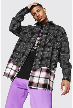 Black Oversized Check Rip And Repair Overshirt