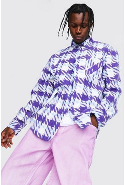 Purple Large Check Overshirt With Split Hem