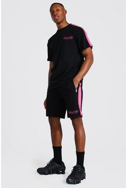 Black Official Man Tape T-shirt & Pintuck Short Set