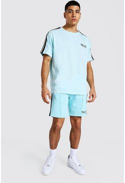 Light blue blue Oversized Official Man Tape Tee & Short Set