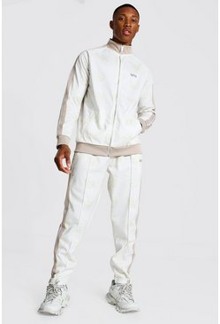 Ecru white Repeat Ofcl Funnel Neck Tape Tricot Tracksuit