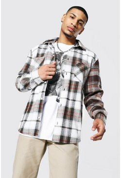 Ecru white Spliced Sleeve Check Overshirt