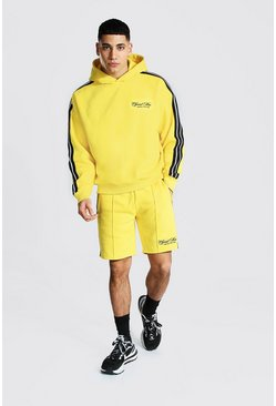 Yellow Oversized Official Man Tape Hooded Tracksuit