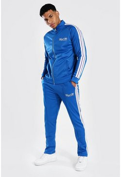 Blue Man Funnel Neck Tricot Tape Tracksuit