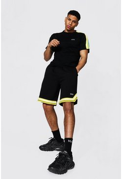 Black Original Man Tape Tee & Basketball Short Set