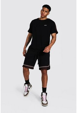 Original Man Tape Tee & Basketball Short Set, Black Чёрный