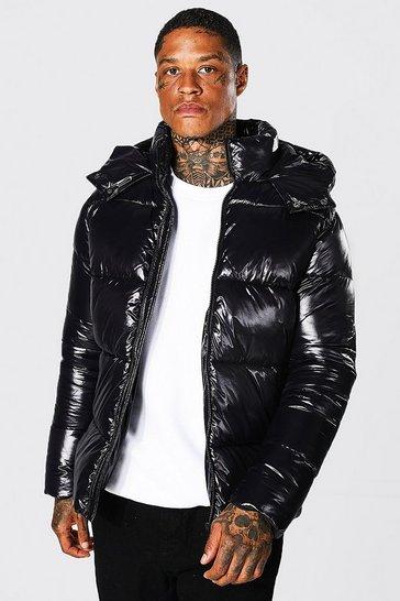 Black Recycled Highshine Panel Puffer Jacket