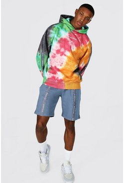 Multi Oversized Man Tape Tie Dye Hoodie & Short Set